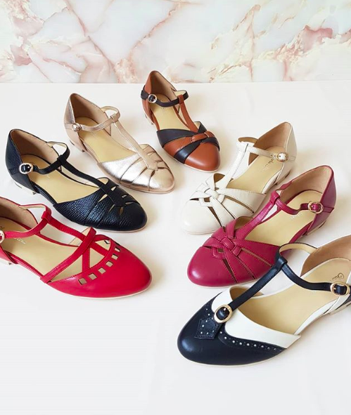Retro vintage style shoes, vintage inspired flats, by Australian .