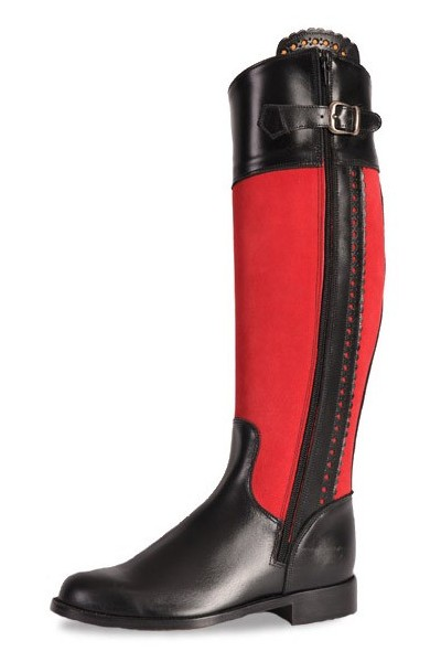 Two-tone black and red ladies boots Red and black boots for horse .