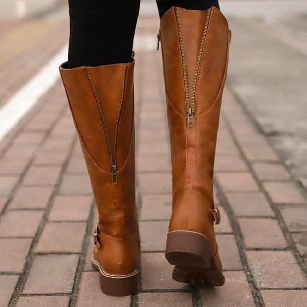 Winter Ladies Vintage Leather Buckle Zip Riding Boots – Kaa