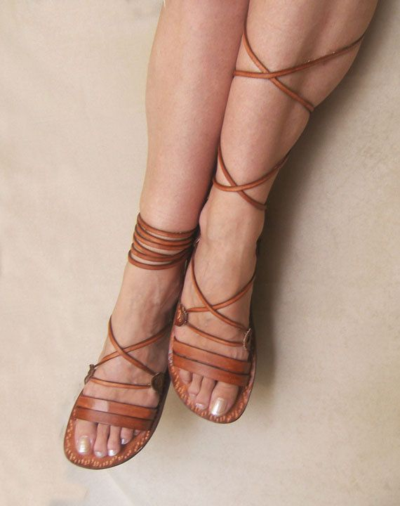Ancient Style Lace Up Brown Leather Handmade Flat Roman Sandals .