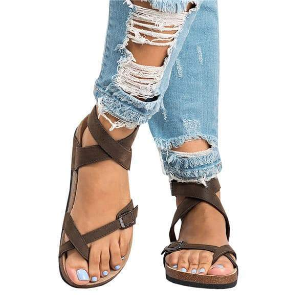 Janechoice Roman Sandals Buckle Peep-toe Fla