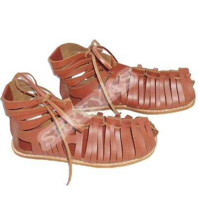 Medieval Renaissance Roman Leather Brown Caligae Sandals Armor .