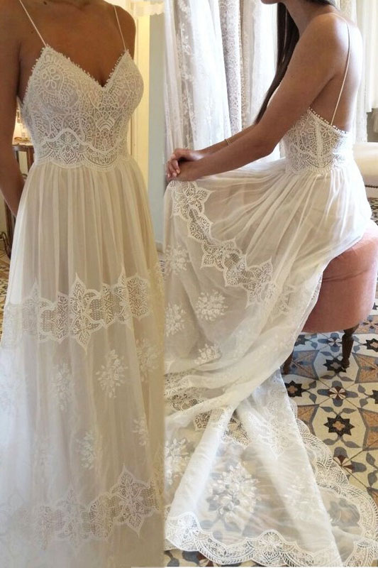 Romantic Straps Lace Long Boho Wedding Dre