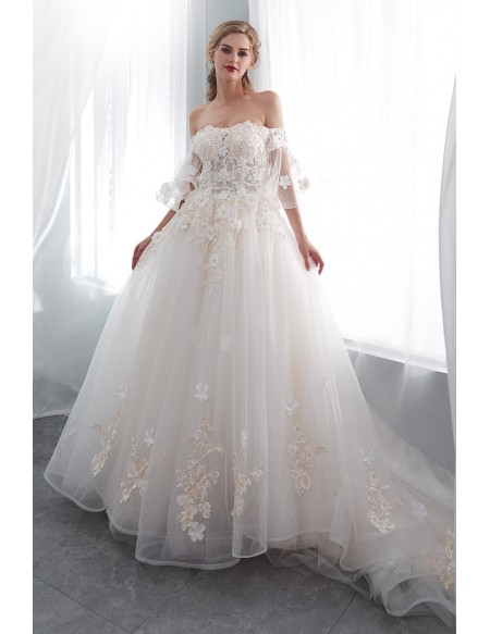 Romantic Ballroom Floral Wedding Dress With Off Shoulder Flare .