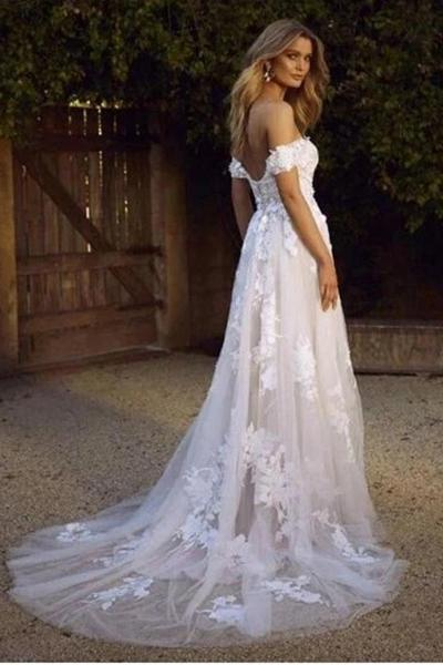 White Off Shoulder Tulle Lace Appliqued Beach Wedding Dress .