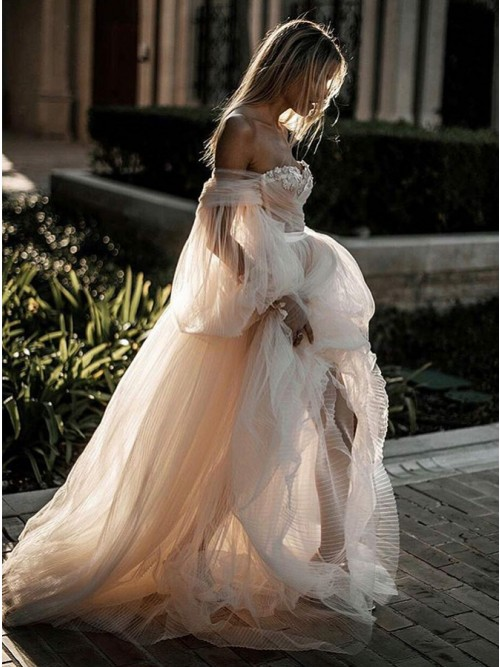 Buy Romantic Off Shoulder Court Train Sleeves Wedding Dress with .