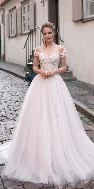 Romantic Off The Shoulder Wedding Dresses,Lace Tulle Custom Made .