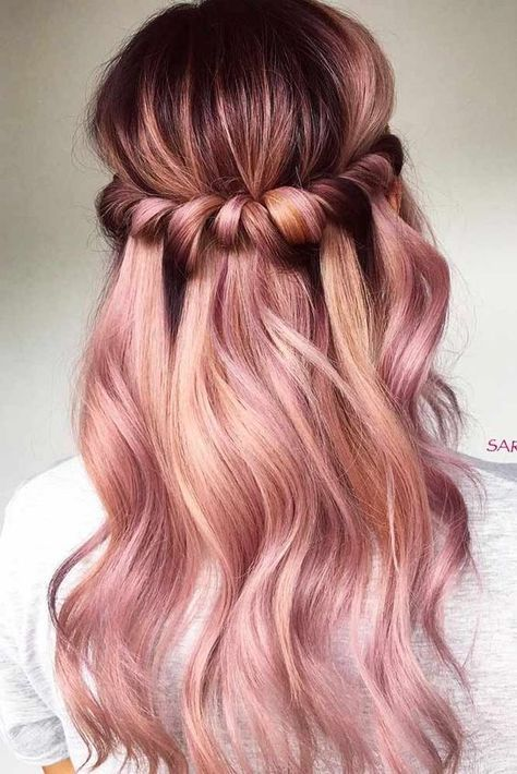 20 Rose Gold Balayage Inspiration for You | Hair color rose gold .