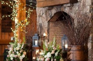 10 Rustic Elegant Colorful Chic Barn Wedding | Rustic fireplaces .