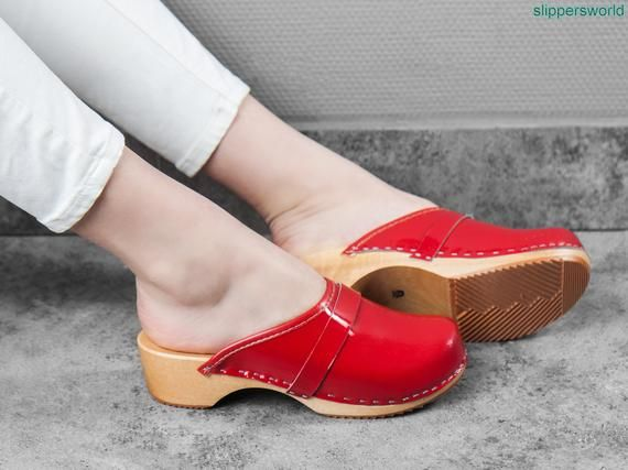 Red leather clogs for women, Ruby sandals with wooden soles .