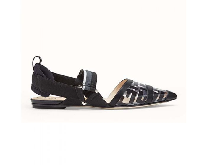 Fendi Women SABOTS Flats in PU and Leather-Bla