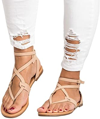 Amazon.com | Women Cross Strap Flat Sandals Low Bottom Flip Flop .