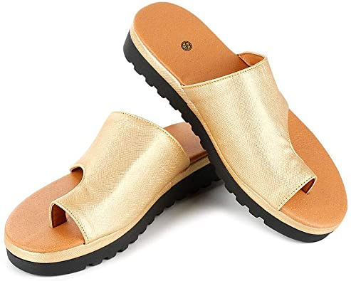 Amazon.com | Bunion Corrector Comfy PU Leather Sandals Open-Toe .