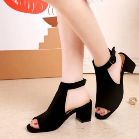 Buy Rome Ladies Style Open Toe Buckle High Heel Sandals-Black .