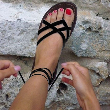 Women's Strappy Sandals - Ankle Wrap Straps / Bla
