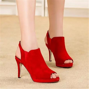 Lady High Heel Bridal Fancy Peep Toe Slingback Latest Fashion .