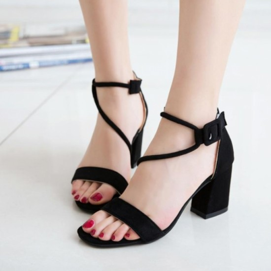 Buy Female Summer Open Toe With High Thick Heel sandals-black .