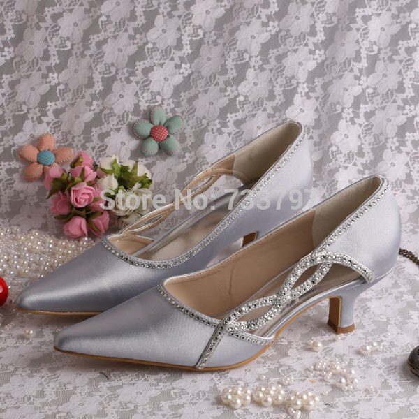 Special Design Pointed Toe Shoes Wedding Ladies Silver Satin Shoes .