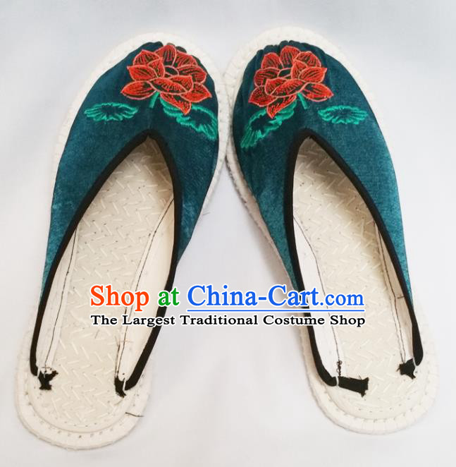 Chinese Ancient Princess Slippers Traditional Embroidered Lotus .