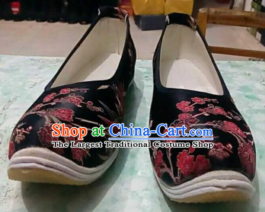 Traditional Chinese Wedding Black Satin Shoes Handmade Hanfu .