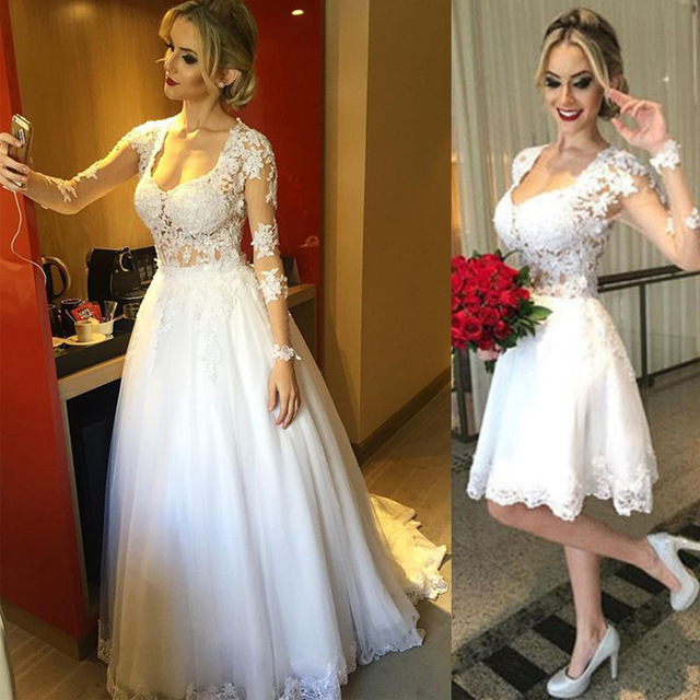 Two in One Long Sleeve Lace Wedding Dress,Long Sleeve Short Lace .