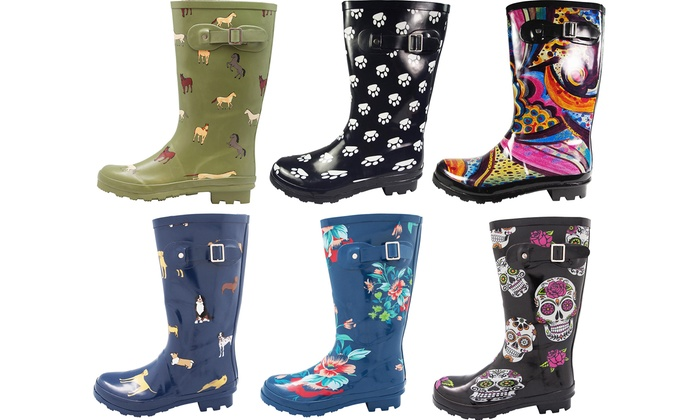 Up To 60% Off on Norty Women's Printed Rain Boots | Groupon Goo