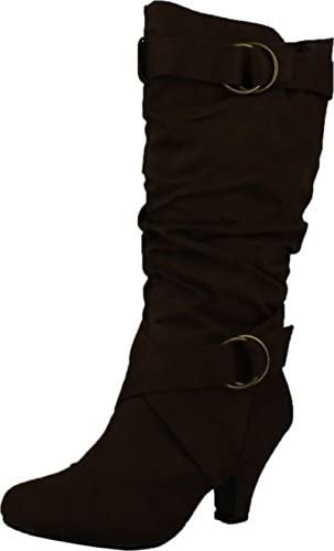 Amazon.com | CC Maggie-38 Women Knee High Kitty Heels Wide Shaft .