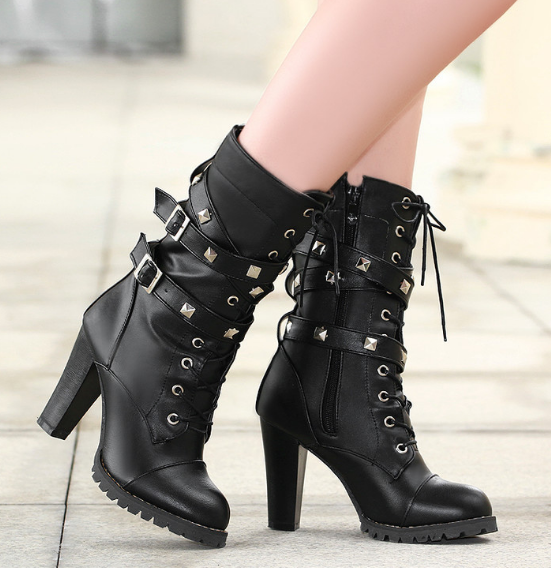 Round Toe Mid Calf Boots Zipper Lace Up Motorcycle Boots Women .