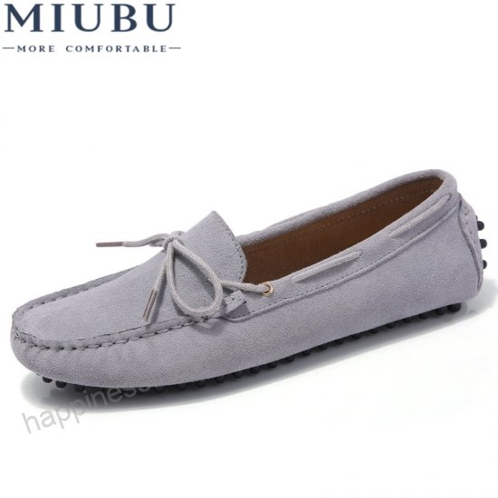 MIUBU Women Classic Loafers Shoes Suede Leather Slip On Knot .