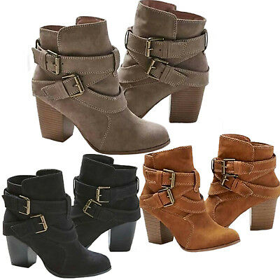 Boots Block Mid Heel Short Booties New Women Ankle Casual Buckle .