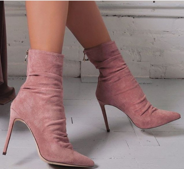 China Women Stretchy Fabric Stiletto Pointed Toe Ankle Boots Women .
