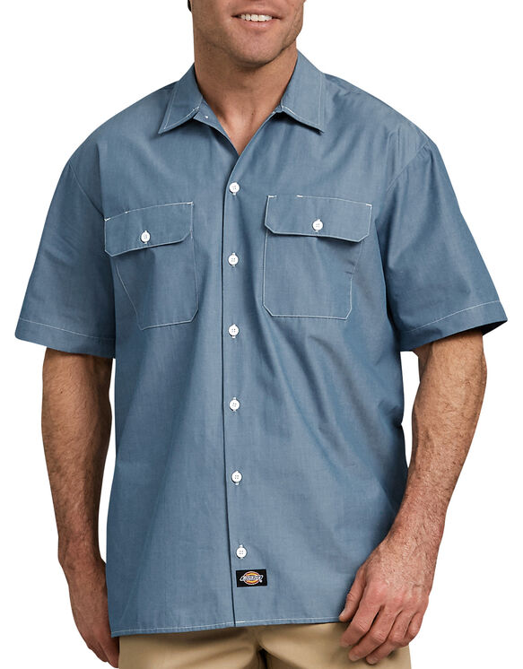 Relaxed Fit Short Sleeve Chambray Shirt | Mens Shirts | Dicki