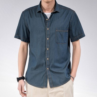 Men's Short Sleeve Shirts Casual Button Down Western Vintage Denim .