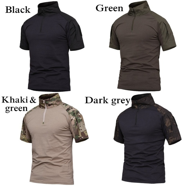 Outdoor Camouflage Camping Tactical T-shirts Men Hiking Hunting .