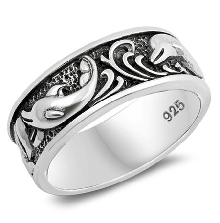Personalized Sterling Silver Dolphin Design Ring - ForeverGifts.c