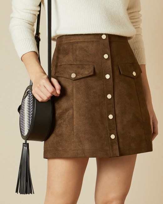 Suedette button front skirt - Brown | Mini Skirts | Ted Bak