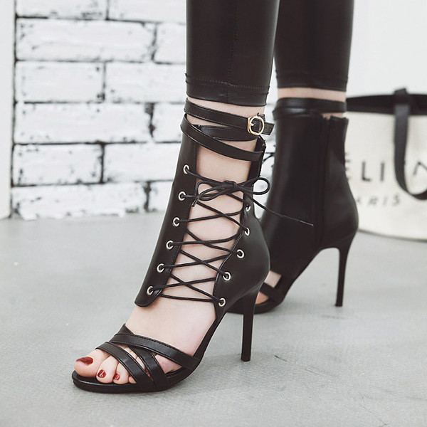 Buy High Heels Shoes Women Ankle Strap Sky-high Heels Woman Sexy .