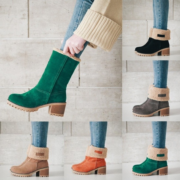 New Fashion 2 Ways To Wear Women Chunky Heel Suede Mid Calf .