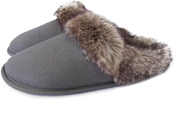 Amazon.com | ofoot Womens Moccasins Suede Clog Fur Slippers Ladies .