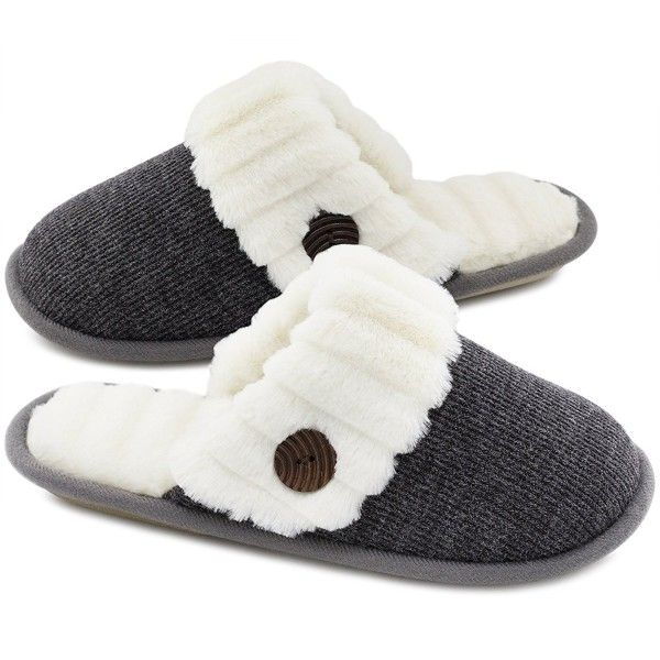Women's Cute Comfy Fuzzy Knitted Memory Foam Slip On House .