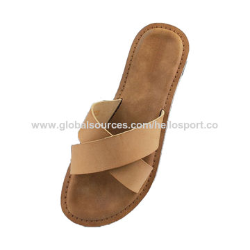 China HelloSport Female Flat Slippers,Leather Slide Sandals Women .