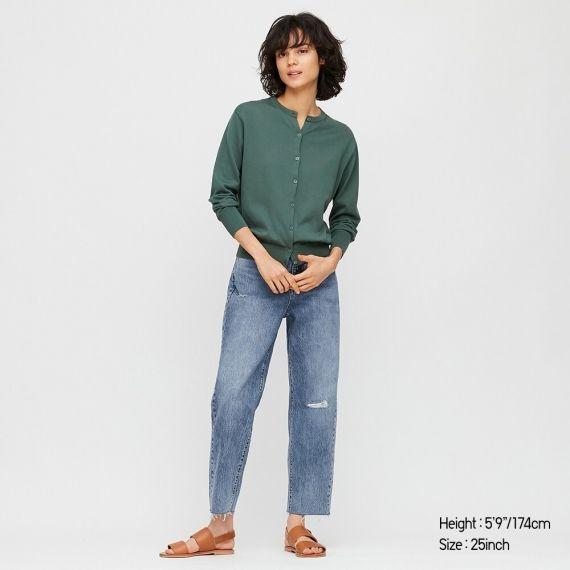 WOMEN Slouch Tapered Ankle Jeans - Jeans - BOTTOMS - WOMEN .
