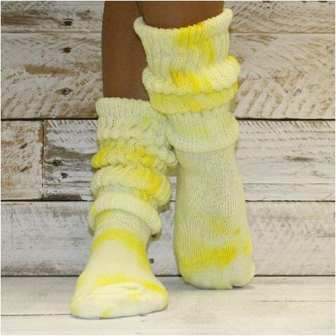 Hooters cotton slouch socks women - Tie dye lemon yellow | tie dye .