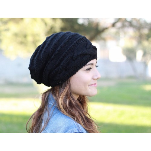 Slouch beanie women Slouch hats women Black knit hat Black hat .
