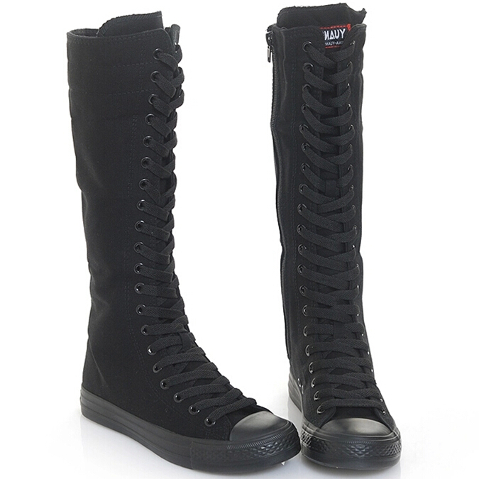 Buy Long Canvas Boots black white color Knee High Sneakers Ladies .