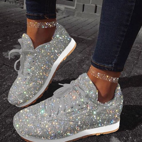 US$ 49.99 - Women Muffin Rhinestone New Crystal Platform Sneakers .