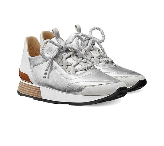 Miles Hermes ladies' sneaker in metallic Nappa leather and .