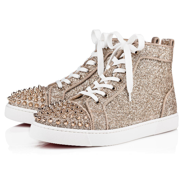 Christian Louboutin Lou Spikes Woman Orlato In Perle/colombe .