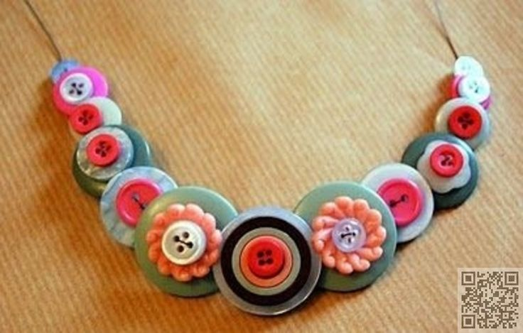 28. #Stacked Button Necklace – 38 #Super Cool Diy #Jewelry #Ideas .