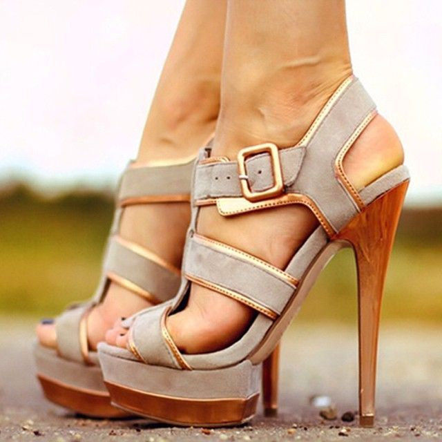 Grey Platform Sandals Suede Open Toe High Heels Shoes for Women .